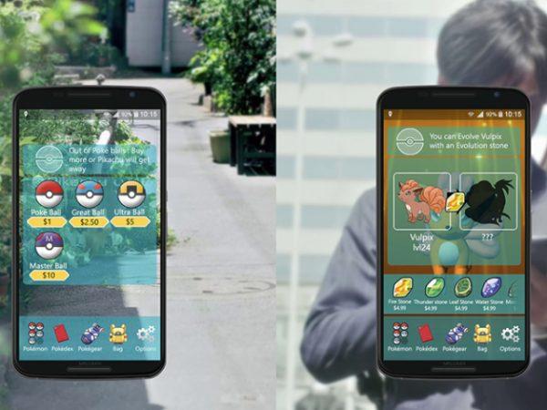 Пример игры Pokemon go на смартфоне