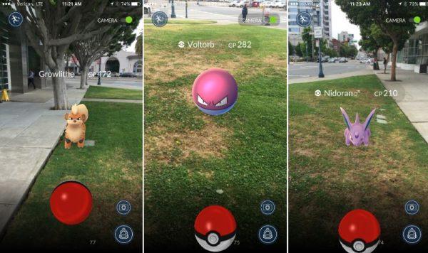 Интерфейс игры Pokemon Go