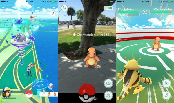 Основной интерфейс игры Pokemon Go