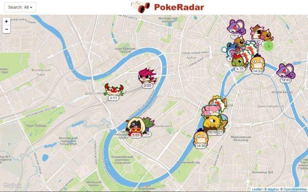 Расположение покемонов на карте