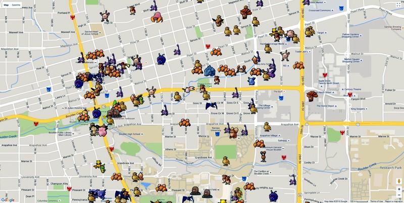 Пример карты в игре Pokemon Go