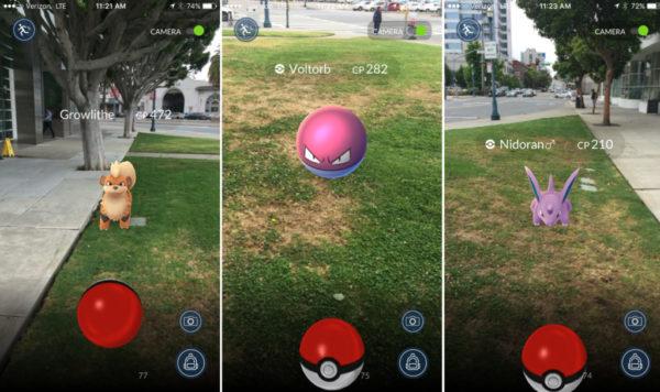 Пример интерфейса игры Pokemon Go